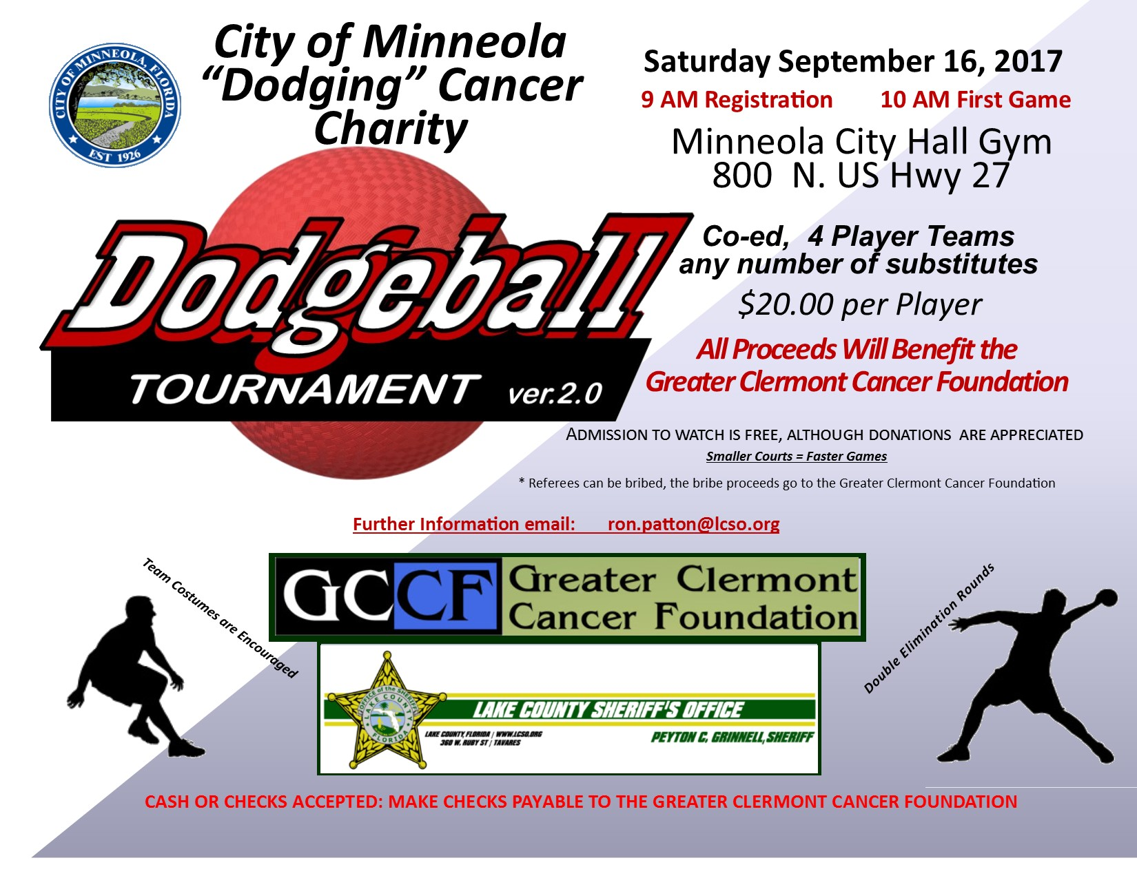 "City of Minneola ""Dodging"" Cancer Charity @ Minneola City Hall Gym 